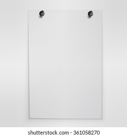 Blank white poster hanging on wall illustration