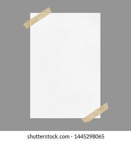 Blank white poster mockup on gray background, front view a4 paper sheet with adhesive tape and copy space
