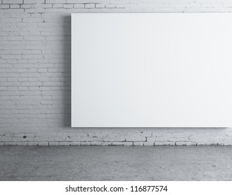 blank white  poster on wall