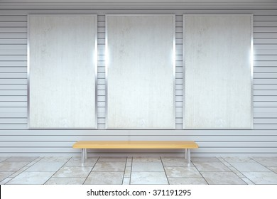 Blank white posters on the wall in empty subway with wooden bench on the floor, mock up 3D Render