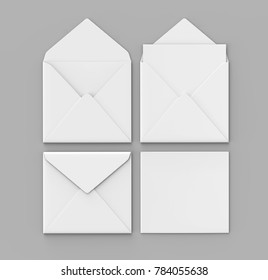 Blank white realistic baronial envelopes mock up. 3d rendering illustration.