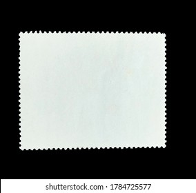 A Blank white rectangle postage stamp shape  in black Background. An opposite surface of a postage stamp.