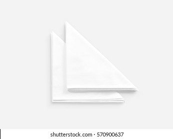 Blank white restaurant napkin mock up, isolated. Clear folded textile towel mockup design template. Cafe branding identity clean overlay for logotype design. Cotton cloth kitchen tissue towel.