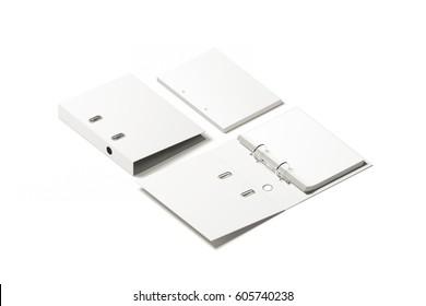 Blank white ring binder folder design mockup, 3d rendering. Self-binder mock up with stack of a4 paper. Office supply cardboard folder branding presentation. Desk lever arch file cover template.