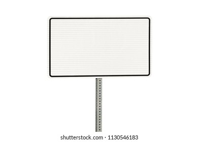 Blank white road sign isolated on white with clipping path.