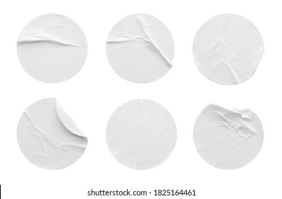 Blank white round paper sticker label set collection isolated on white background with clipping path
