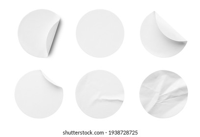 Blank white round paper sticker label set collection isolated on white background