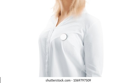 Blank white round silver lapel badge mock up woman chest side view. Empty hard enamel pin mockup wear on shirt. Metal clasp-pin medal design template. Expensive curcular brooch for logo presentation