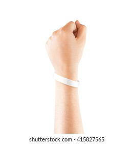 Blank white rubber wristband mockup on hand, isolated. Clear sweat band mock up design. Sport sweatband template wear on wrist arm.  Silicone fashion round social bracelet wear on hand. Unity band.
