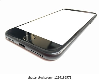 Blank white screen mobile phone on white background