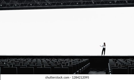Blank white screen in presentation hall person on stage mockup. Empty scren in theatre mock up. People on lecture or movie premiere template. Education event with viewers.