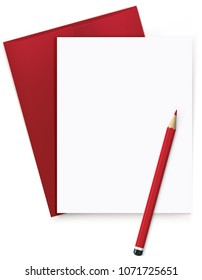 Blank white sheet with letter and red pencil. Realistic  3d illustration