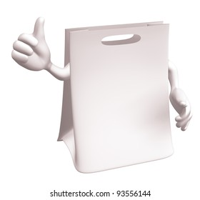 blank white shopping bag with thumb up
