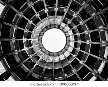 blank and white shot of spiral staircase as abstract background