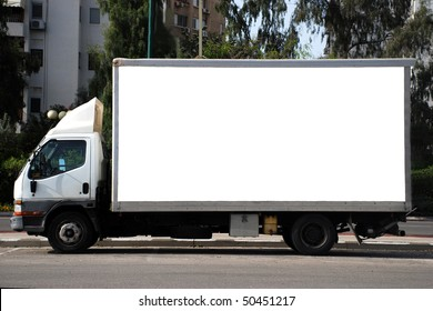 A Blank white Sign on a white truck
