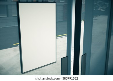 Blank white signboard on glassy wall of building, mock up, 3D render