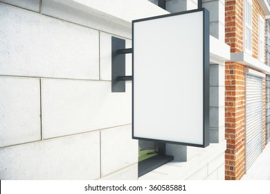 Blank white signboard on the wall outdoor, mock up