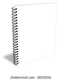 Blank white spiral notebook closed but empty ebook cover
