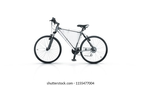 Blank white sport bicycle with ad banner mock up, isolated. Clear bike for rent witn pennant in middle frame mockup. Mountain empty baner rental velocipede design template with nobody.