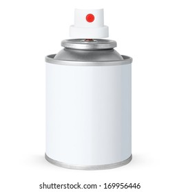 Blank white spray can, isolated on white background