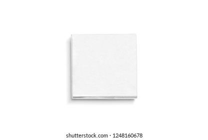 Blank white square folded napkin mock up, isolated. Empty tissue doily mockup. Tableware for cafe or restaurant branding. Soft accessory towel template.