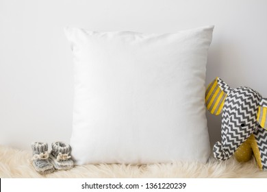 Blank white square pillow, nursery mock up