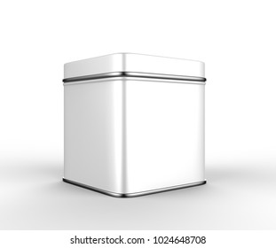 Blank white square tin box food container for packaging design mockup. 3d render illustration.