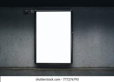 Blank white subway indoor advertisement light box. Mock-up design.