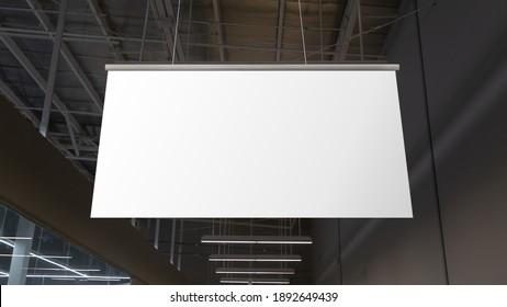 Blank weiße Supermarkt-Banner, die von der Decke hängen. Hangers sind bereit für Branding oder Werbung