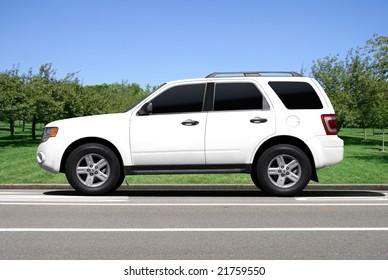 Blank white SUV