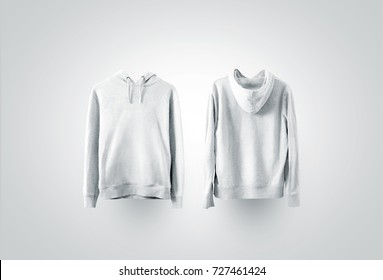 Blank white sweatshirt mockup set, front and back side view.