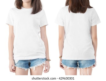 Blank white t shirt on a girl template on white background,Front and Back.