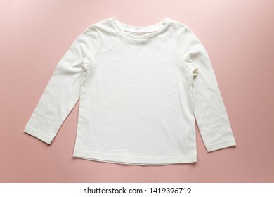 21205d4a1 Blank white toddler girl's long sleeved t-shirt on pink background - toddler  kid's apparel