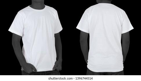 Blank White T-shirt (front, back) isolated on black background
