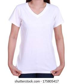 blank white t-shirt on woman isolated on white background