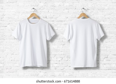 Blank White T-Shirts Mock-up hanging on white wall, front and rear side view. Ready to replace your design