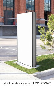 Blank white vertical pylon stand mockup brick building, side view. Empty information stand on street for advertise mock up. Clear vertical monitor or totem for affiche or ad mokcup template.