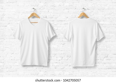 Blank White V-Neck T-Shirts Mock-up hanging on white wall. Front and rear side view. Ready to replace your design. 3D rendering.