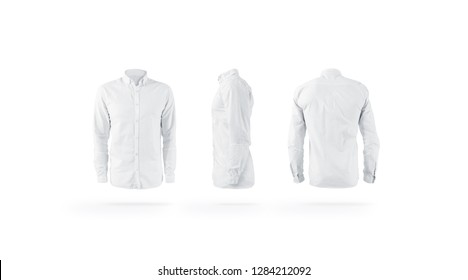 Blank white weared classic mens shirt with sleeve mockup set, front, back and side view, isolated. Empty work gament mock up. Clear elegant banyan on figure. Glamour clothing template.