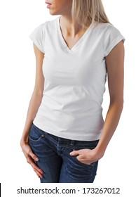 Blank white woman's t-shirt