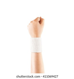 Blank white wristband mockup on hand, isolated. Clear sweat band mock up design. Sport sweatband template wear on wrist arm. Sports support protective bandage wrap. Bangle on the tennis player.