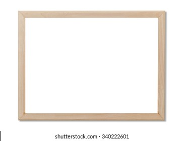 blank whiteboard copyspace with wood frame isolated on white background.