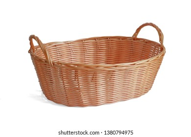 Blank wicker basket gift to putting bakery fruits vegetables products or other stuffs isolated on white background. This has clipping path