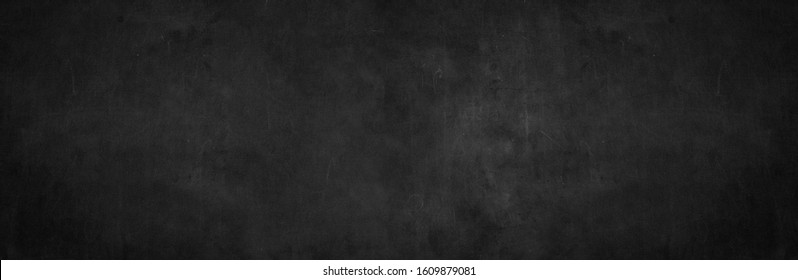 Blank wide screen real chalkboard background texture in college wall for back to school classroom for black friday  Chalk art gradient scratch. Grey slate table food backboard white gray bacground.