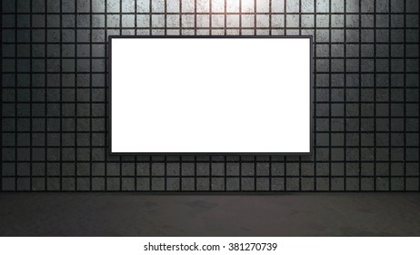 blank wide screen TV on brick wall for promotion display