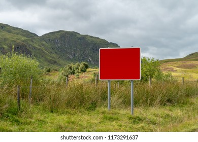 A blank winter weather warning sign on a minor road in the Ben Lawers mountain range in Perthshire in the Scottish highlands.