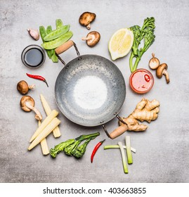 Blank Wok pan and ingredients for Chinese or Thai  cooking , top view. Asian cuisine
