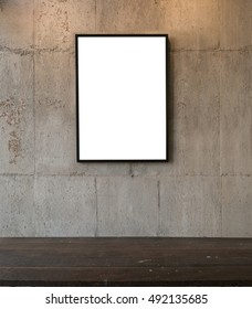 Blank wood frame on cement wall background