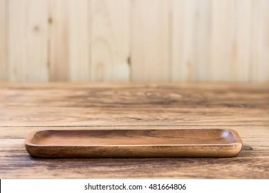 blank Wood plate on wood table