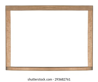 A blank wooden board/frame isolated on a white background.